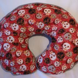 Red Boppy Pillow Cover with Black and Grey Skulls Nursing Pillow Cover